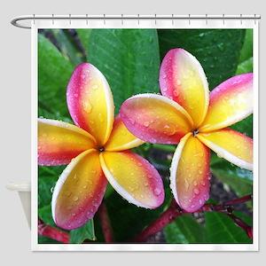 Maui Plumeria Tropical Flower Shower Curtain