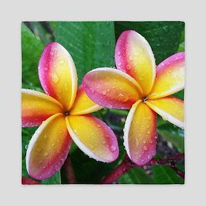 Maui Plumeria Tropical Flower Queen Duvet