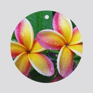 Maui Plumeria Tropical Flower Ornament (Round)