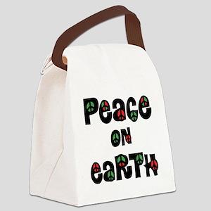 Peace On Earth Christmas Canvas Lunch Bag