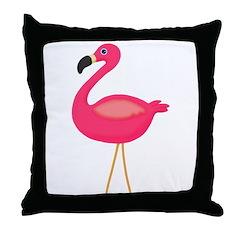 Pink Flamingo 3 Throw Pillow