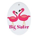 Big Sister Pink Flamingoes Ornament (Oval)