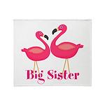 Big Sister Pink Flamingoes Throw Blanket