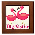 Big Sister Pink Flamingoes Framed Tile