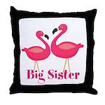 Big Sister Pink Flamingoes Throw Pillow