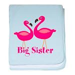 Big Sister Pink Flamingoes baby blanket