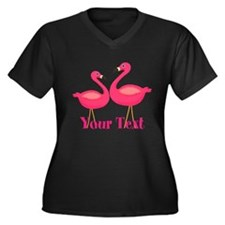 Personalizable Pink Flamingoes Plus Size T-Shirt