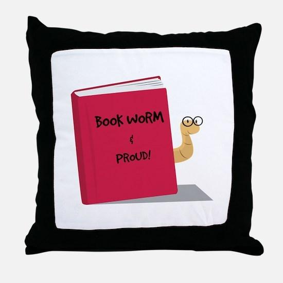 Proud Book Worm Throw Pillow