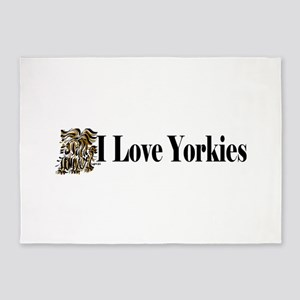 I love Yorkies long1 5'x7'Area Rug