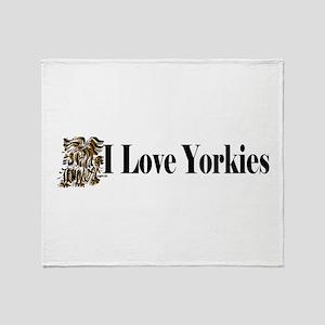 I love Yorkies long1 Throw Blanket