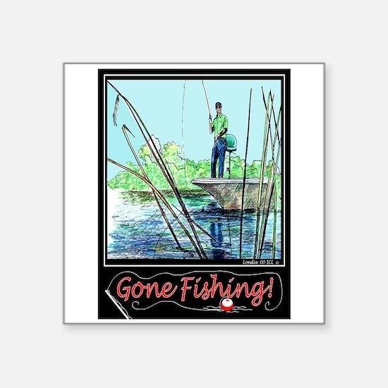 Gone Fishing 2 Rectangle Sticker