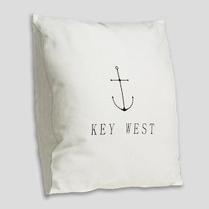 Key West Sailing Anchor Burlap Throw Pillow