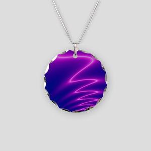 Neon Lightning Necklace Circle Charm