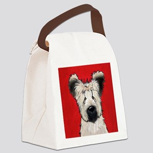 Briard Buddy On Red Canvas Lunch Bag