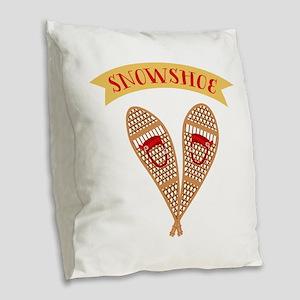 Snowshoes Burlap Throw Pillow