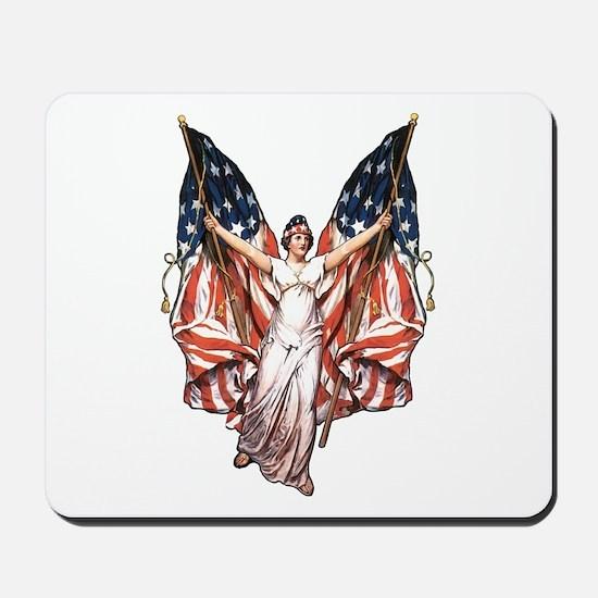 Vintage American Flag Art Mousepad