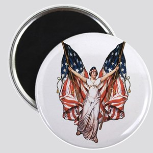 Vintage American Flag Art Magnet