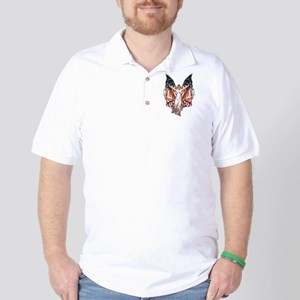Vintage American Flag Art Golf Shirt
