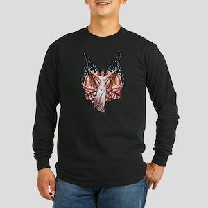Vintage American Flag Art Long Sleeve Dark T-Shirt