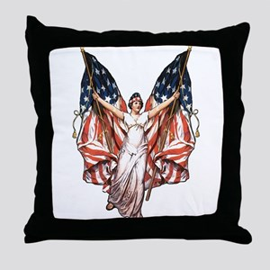 Vintage American Flag Art Throw Pillow