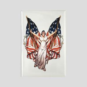 Vintage American Flag Art Rectangle Magnet