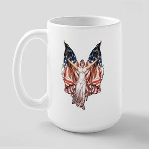 Vintage American Flag Art Large Mug
