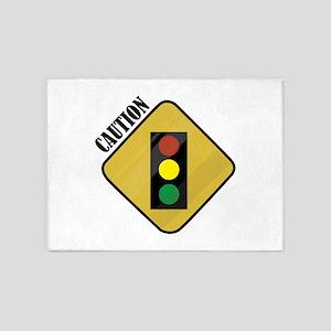 Caution Sign 5'x7'Area Rug
