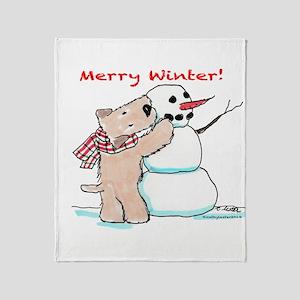 Wheaten Snowman Throw Blanket