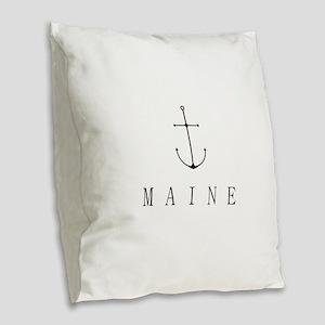 Maine Sailing Anchor Burlap Throw Pillow