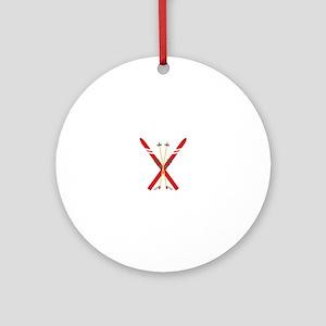 Vintage Ski Poles Ornament (Round)