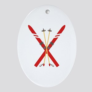 Vintage Ski Poles Ornament (Oval)