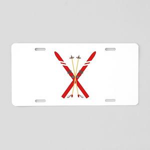 Vintage Ski Poles Aluminum License Plate