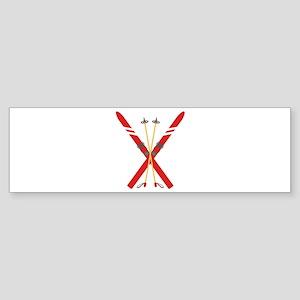 Vintage Ski Poles Bumper Sticker