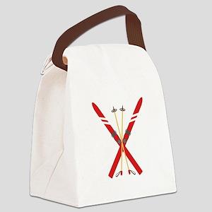 Vintage Ski Poles Canvas Lunch Bag