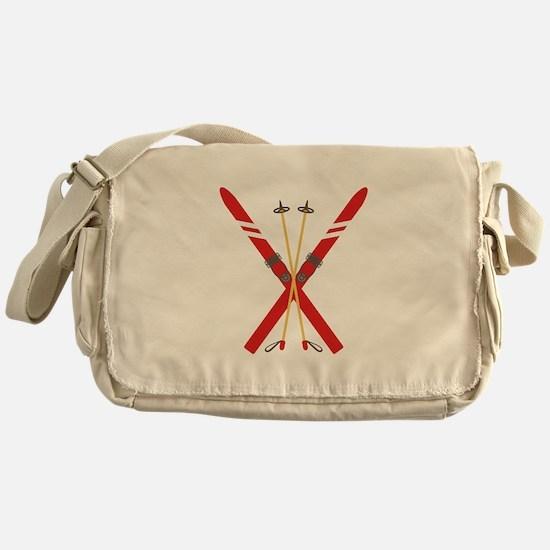 Vintage Ski Poles Messenger Bag