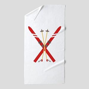 Vintage Ski Poles Beach Towel