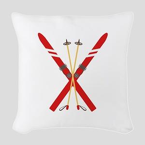 Vintage Ski Poles Woven Throw Pillow