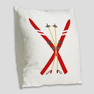 Vintage Ski Poles Burlap Throw Pillow