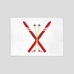 Vintage Ski Poles 5'x7'Area Rug