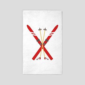 Vintage Ski Poles Area Rug