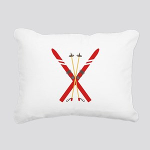 Vintage Ski Poles Rectangular Canvas Pillow
