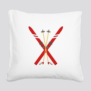 Vintage Ski Poles Square Canvas Pillow
