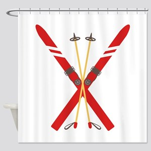 Vintage Ski Poles Shower Curtain