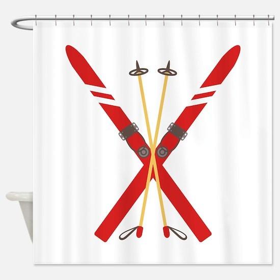 Vintage Ski Poles Shower Curtain