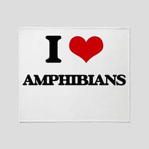 I Love Amphibians Throw Blanket