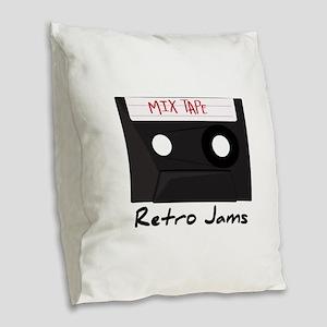 Retro Jams Burlap Throw Pillow
