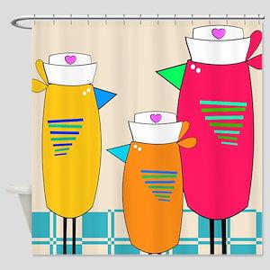 Whimsical Nurse Birds Shower Curtain