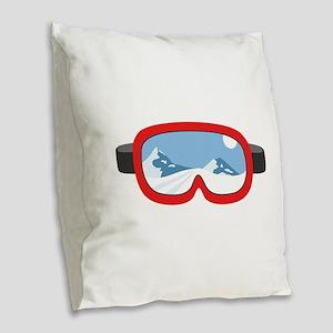 Ski Mask Burlap Throw Pillow