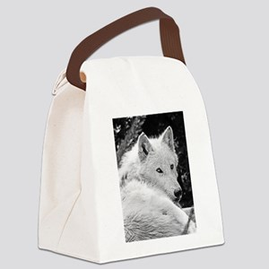 Gorgeous White Wolf Canvas Lunch Bag