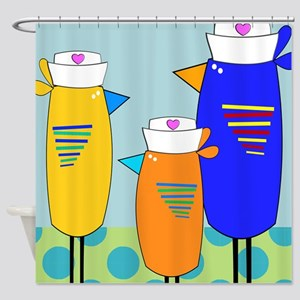 Whimsical Nurse Birds Shower Curtain